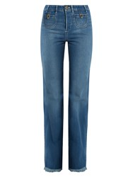 Chloe Frayed Hem High Rise Straight Leg Jeans Denim