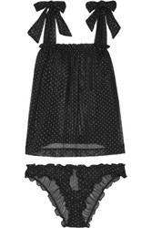 Le Petit Trou Lou Ruffled Glittered Polka Dot Stretch Tulle Pajama Set Black