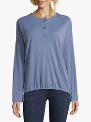 Betty And Co. Button Trimmed Top Colony Blue