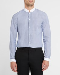 Editions M.R Navy And White Striped Band Collar Shirt Blue