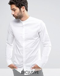 Only And Sons Skinny Shirt With Grandad Collar White
