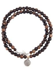 Catherine Michiels Crystal Disc Beaded Necklace Brown