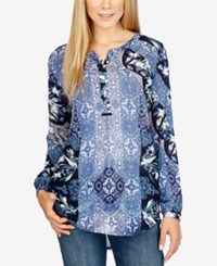 Lucky Brand Printed Tunic Top Blue Multi