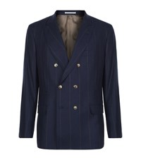 Brunello Cucinelli Pinstripe Double Breasted Jacket Male Navy