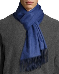 Begg And Co Reversible Cashmere Scarf W Fringe Navy Blue Jay Navy Blue Jay