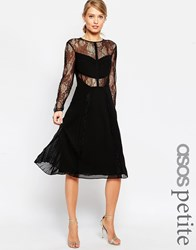 Asos Petite Midi Lace Skater Dress With Cut Outs Black