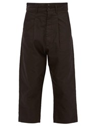 Chimala Pleated Cropped Cuff Cotton Twill Trousers Black