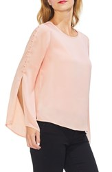 Vince Camuto Button Bell Sleeve Hammer Satin Top Rose Buff