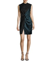 Dkny Ruched Colorblock Dress Green