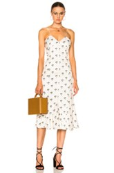 Victoria Beckham Cami Flare Midi Dress In Floral White Floral White