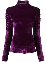 Josie Natori Stretch Velvet Top Pink And Purple