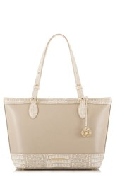 Brahmin Medium Quincy Asher Leather Tote Beige Taupe Quincy