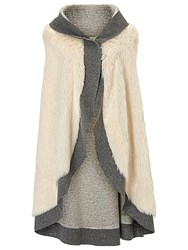 Betty Barclay Faux Fur Poncho Grey Cream