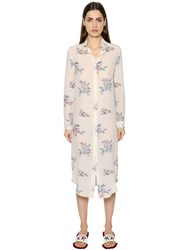 Stella Jean Long Sleeve Silk Crepe De Chine Dress
