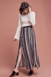 Anthropologie Cinched Stripe Maxi Skirt Black Motif