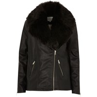River Island Womens Black Faux Leather Aviator Jacket