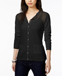 Tommy Hilfiger Open Knit Cardigan Only At Macy's Black Black