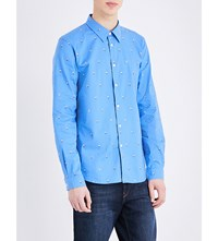 Paul Smith Ps By Dancing Man Tailored Fit Cotton Shirt Blue