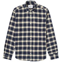 Portuguese Flannel River Button Down Check Shirt Blue