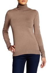 Susina Long Sleeve High Rib Cuff Turtleneck Petite Brown