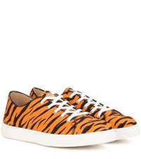 Charlotte Olympia Low Top Printed Sneakers Orange