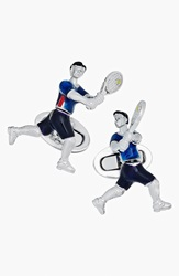 Jan Leslie Tennis Player Cuff Links Silver