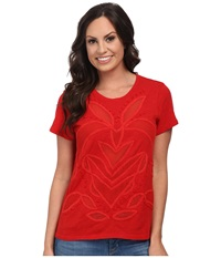 Lucky Brand Cut Out Mesh Top Red Women's Clothing