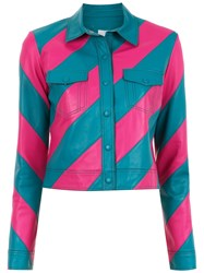 Spacenk Nk Striped Leather Jacket Blue