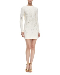 J. Mendel Beaded Open Back Long Sleeve Cocktail Dress