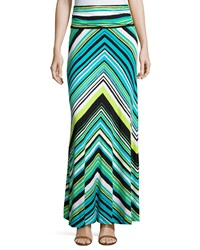 Joan Vass Chevron Shirred Waist Maxi Skirt Teal Lime Multi