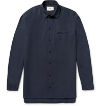 Folk Slim Fit Cotton Shirt Navy