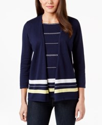 Alfred Dunner Petite Three Quarter Sleeve Layered Look Cardigan
