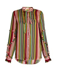 N 21 Striped Silk Chiffon Blouse Multi