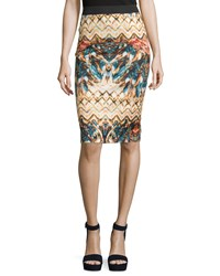 Philosophy Graphic Print Stretch Knit Pencil Skirt Women's