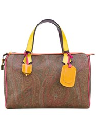 Etro Paisley Print Barril Tote Women Cotton Calf Leather Polyester Pvc One Size Brown