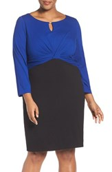 Ellen Tracy Plus Size Women's Colorblock Sheath Dress