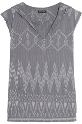 Baja East Ikat Cotton Jacquard Hooded Coverup