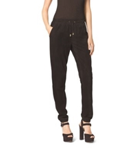 Michael Kors Perforated Leather Track Pants Chocolate