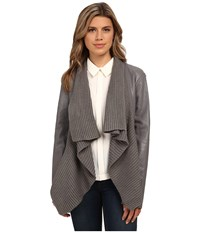 Bb Dakota Sarafina Pu Jacket With Sweater Knit Drape Front Charcoal Women's Coat Gray