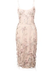 Marchesa Notte Feather Embroidered Sleeveless Dress Pink And Purple