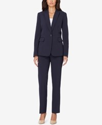 Tahari By Arthur S. Levine Asl Pinstriped Pantsuit Navy White