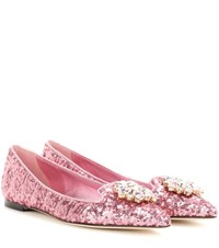 Dolce And Gabbana Crystal Embellished Sequinned Ballerinas Pink