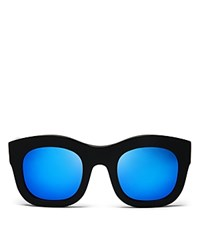 Illesteva Mirrored Hamilton Oversized Thick Rim Square Sunglasses 49Mm Black Blue Mirror