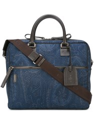 Etro Removable Strap Laptop Bag Blue