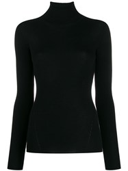 Closed Ribbed Roll Neck Sweater Black