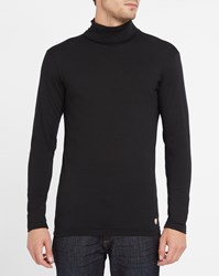 Armor Lux Charcoal Polo Neck Ultra Fine Cotton And Wool Sweater Grey