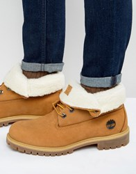 Timberland Roll Top Faux Shearling Premium Boots Brown
