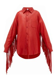 Vetements Fringed Sleeve Leather Shirt Red
