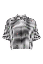 Topshop Tall Gingham Embroidered Crop Top Monochrome