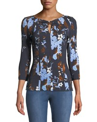St. John 3 4 Sleeve Painted Floral Jersey T Shirt Blue Pattern